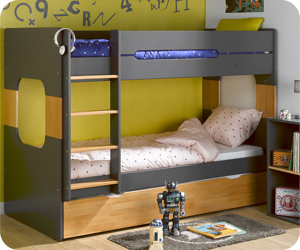 Litera 90x200cm con cama nido en gris antracita y haya Estructura cama 90x200