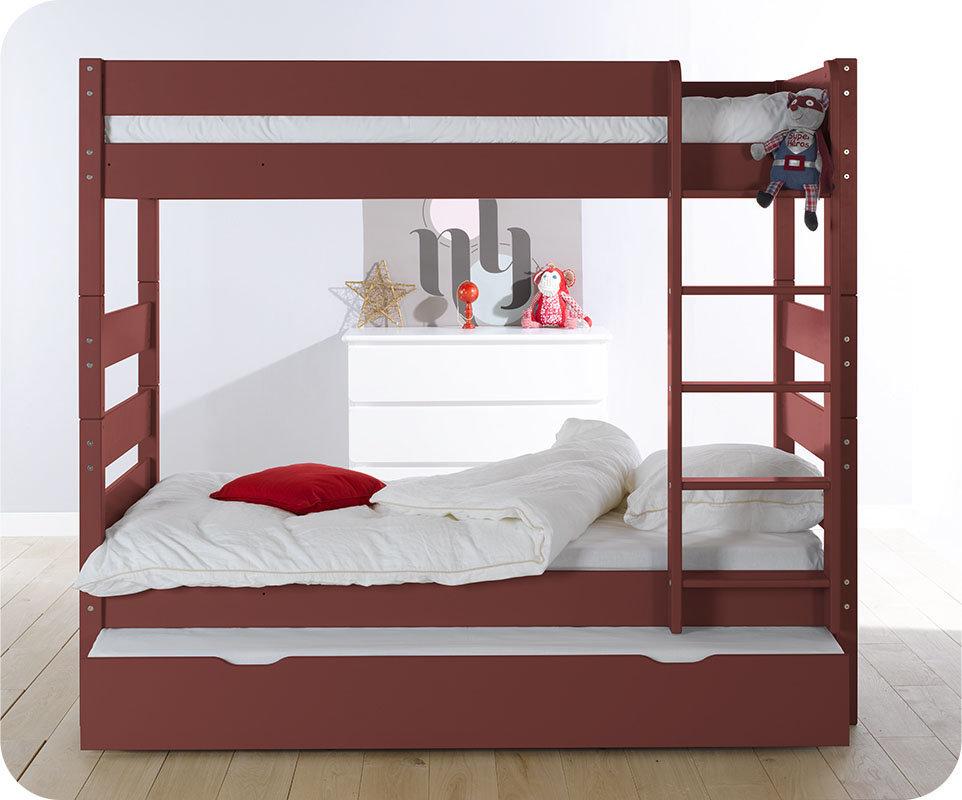 Litera alta con cama nido color roja 90x190 cm - Litera con cama nido ...
