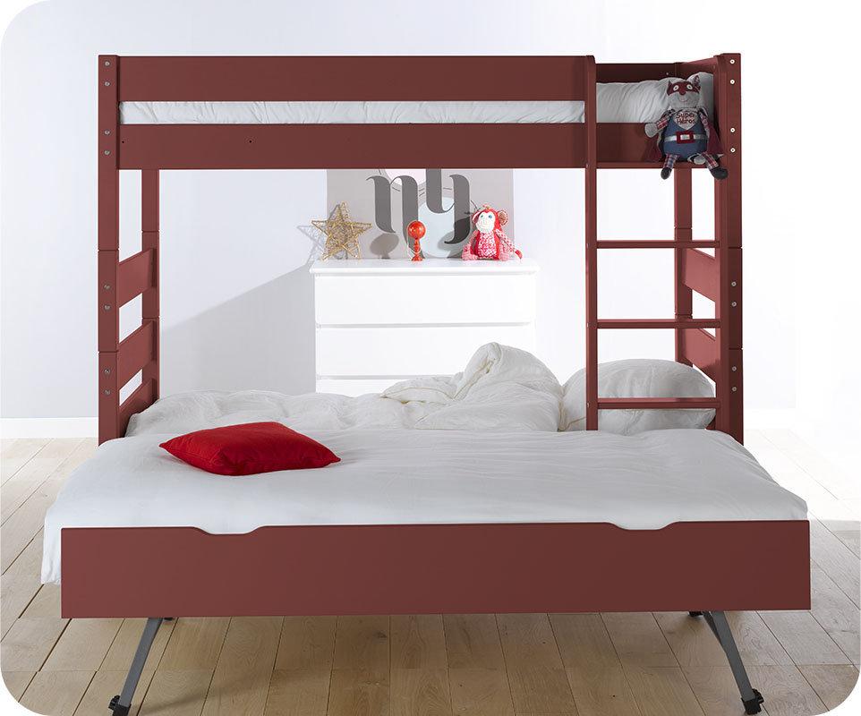 Litera alta con cama nido color roja 90x190 cm - Literas nido 3 camas ...