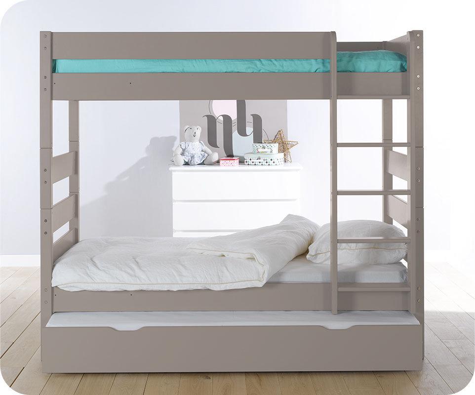 Litera alta con cama nido color lino 90x190 cm - Cama nido alta ...
