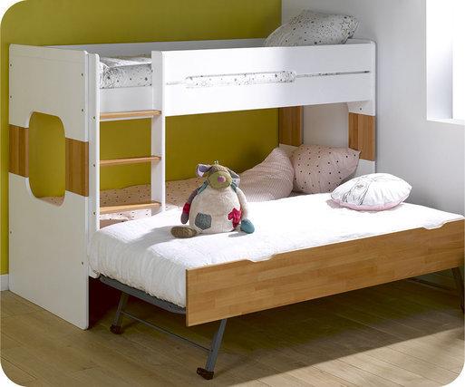 Litera de 90x200cm con dos colchones color blanco y haya for Cama nido color madera