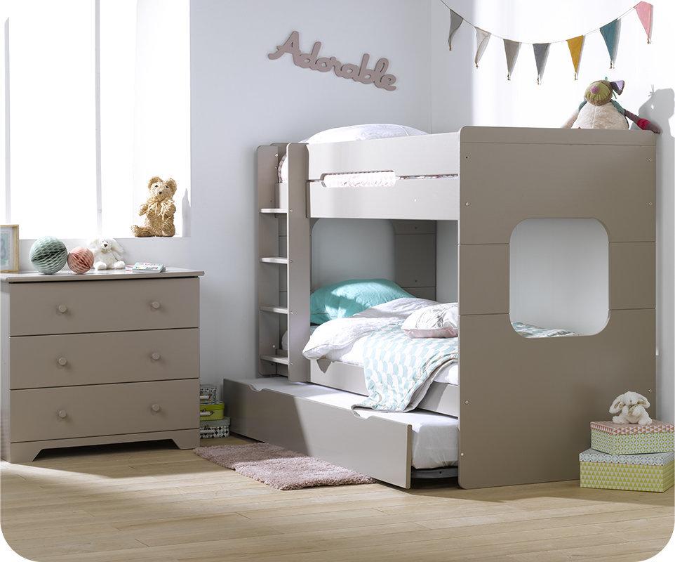 Litera spark con cama nido 90x200cm lino for Literas con cama nido ikea