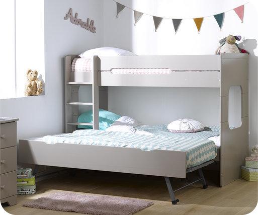 Litera spark con cama nido 90x200cm lino - Literas nido 3 camas ...