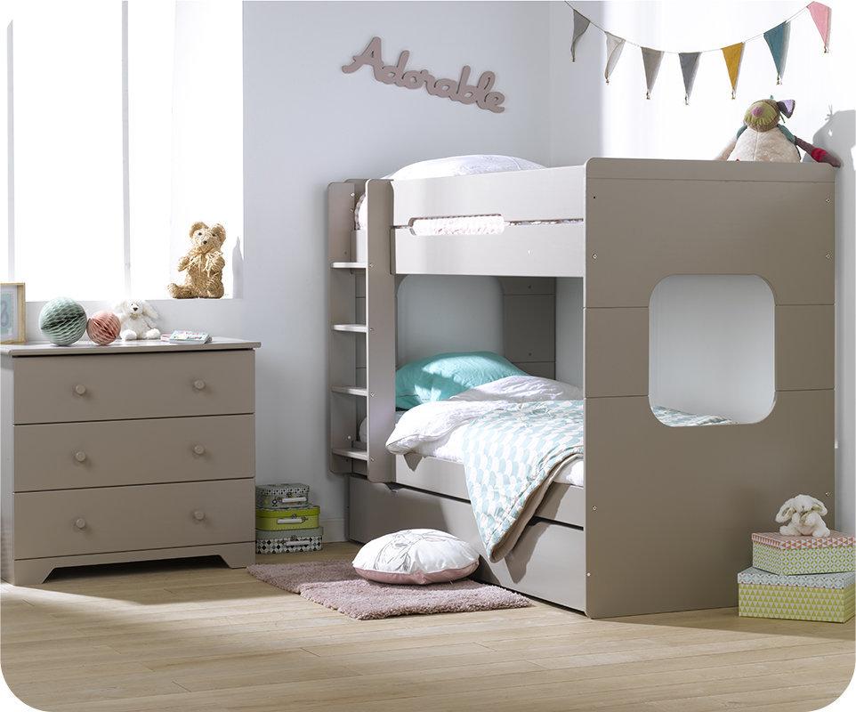 Litera spark con cama nido 90x200cm lino for Litera con cama nido