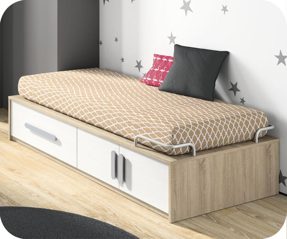 Cama juvenil blanca roble con almacenaje y colch n - Base cama almacenaje ...