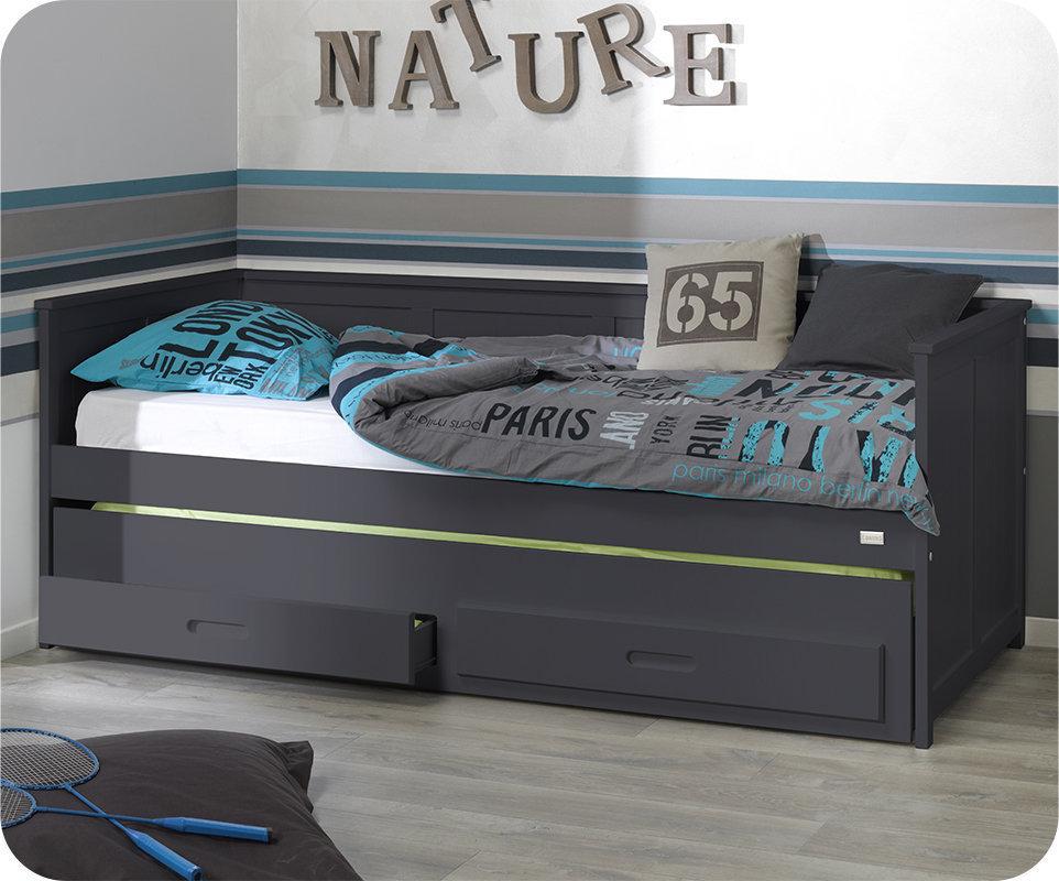 Sof cama nido de 90x200 cm con 2 cajones gris for Cama 90 x 200