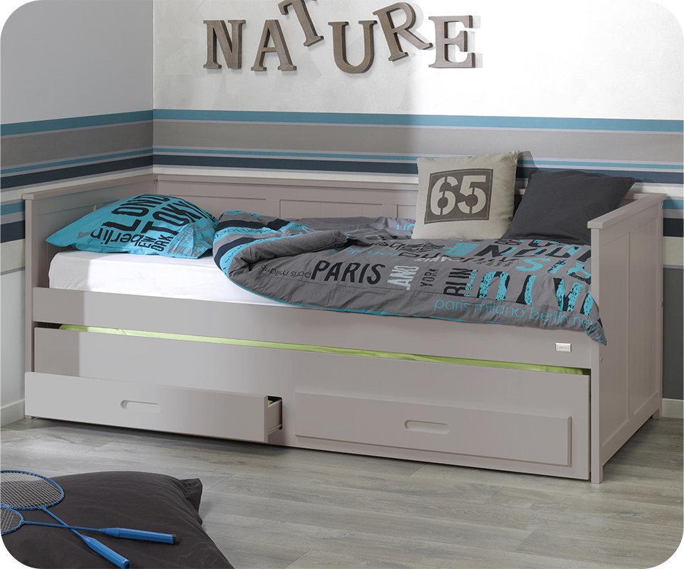 Sof cama nido de 90x200 cm con 2 cajones lino for Camas nido ninos pequenos
