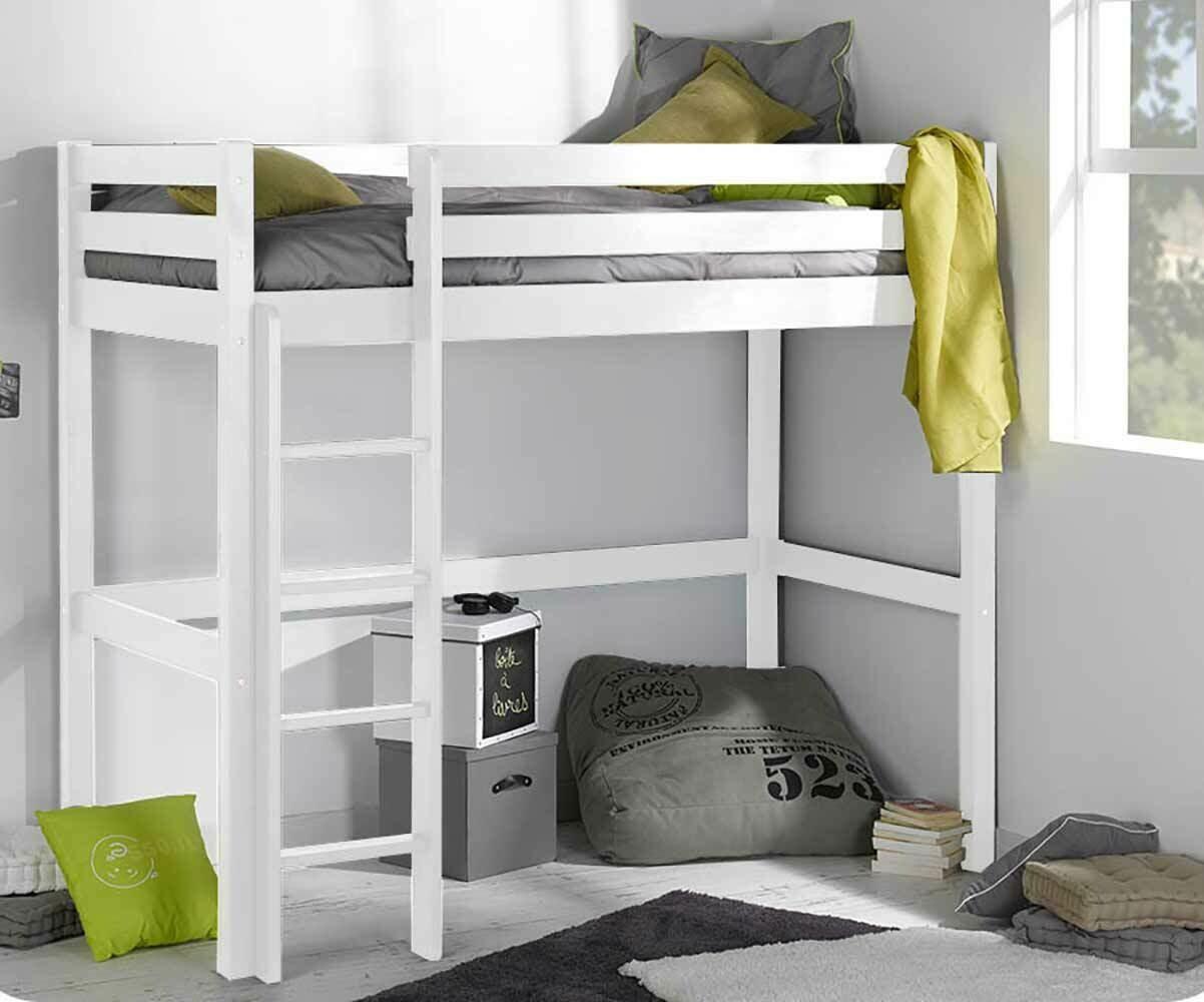 Pack cama alta wood en color blanco con colch n - Camas altas con armario debajo ...