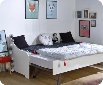 Sof cama nido con colchones de 80x200 cm blanco for Cama nido con colchones