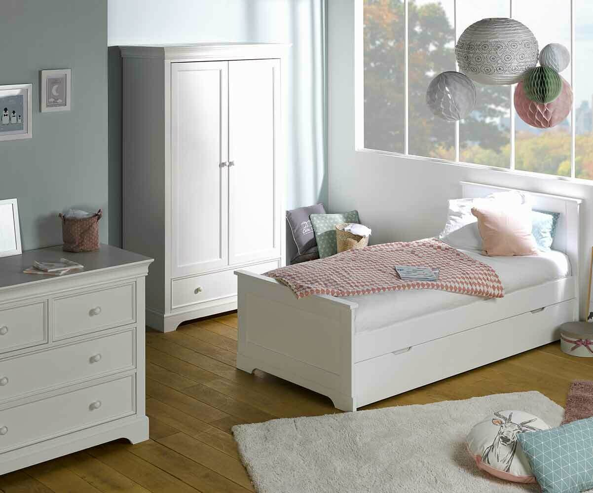 Dormitorio juvenil mel blanco cama c moda y armario - Muebles dormitorio blanco ...