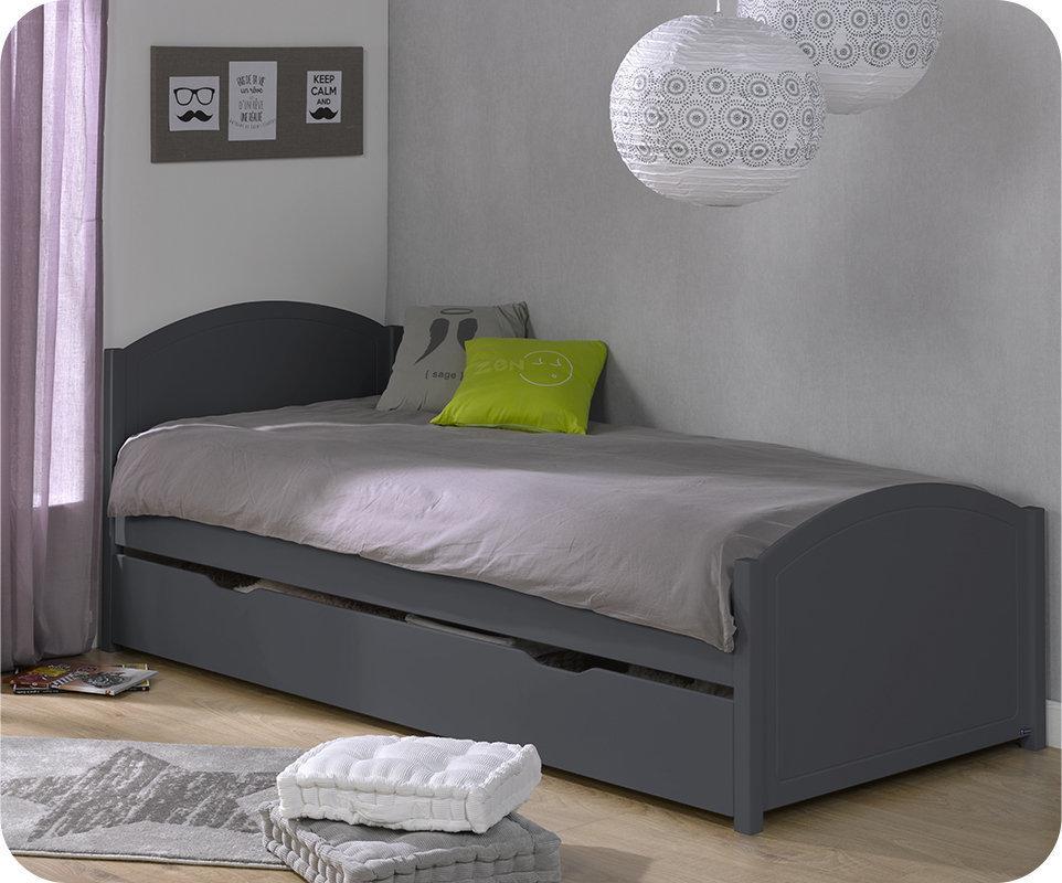 Pack cama nido pac me 90x200 gris 2 colchones for Cama 90 x 200