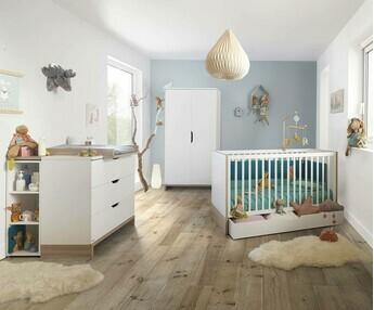 Habitaci n beb completa pluma blanca y madera for Habitacion completa bebe boy
