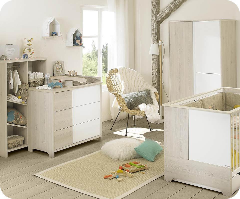 Habitaci n de beb completa lili blanca y madera for Habitacion blanca y turquesa