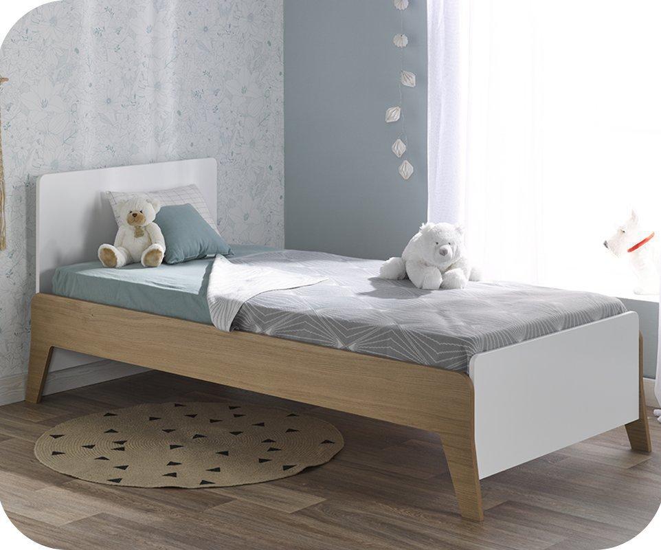 cama juvenil aloa blanca y madera 90x190cm