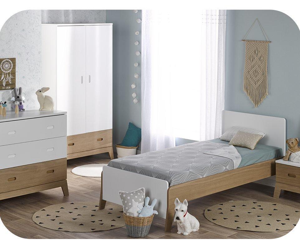Dormitorio juvenil aloa de 4 muebles blanco madera for Dormitorio blanco y madera