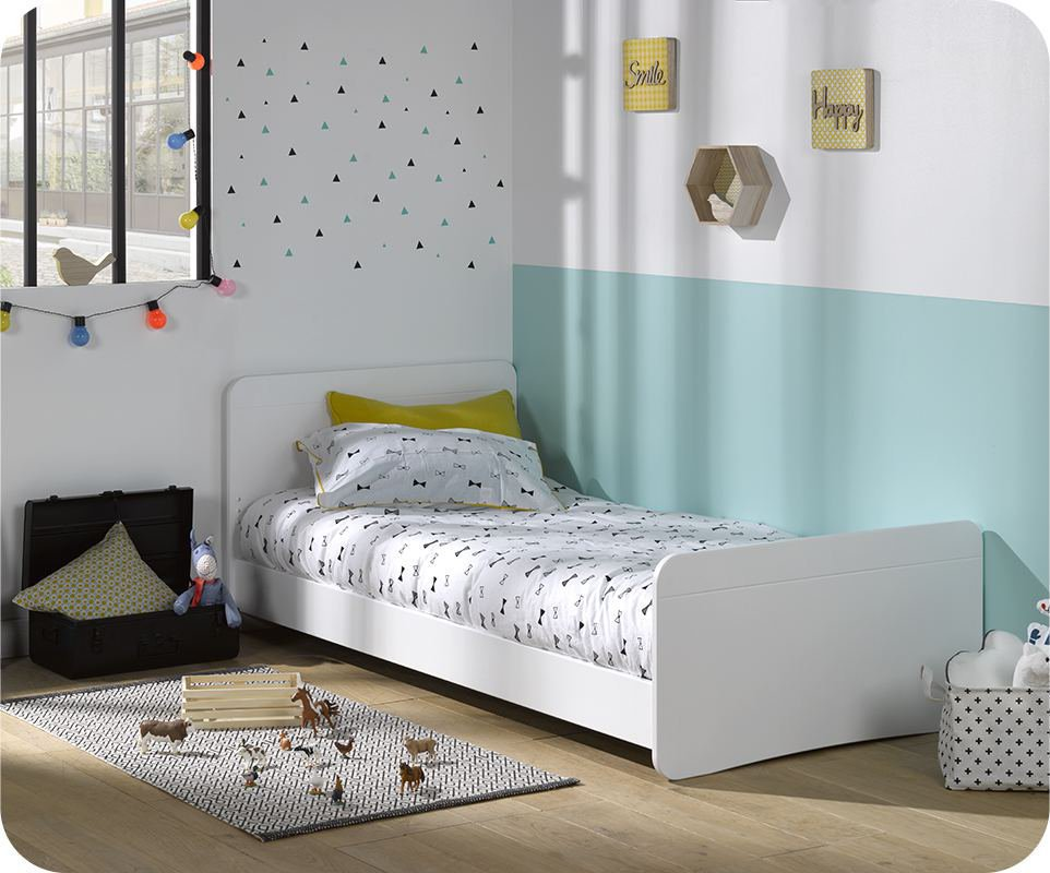Cama juvenil willow blanca 90x190 for Cama blanca