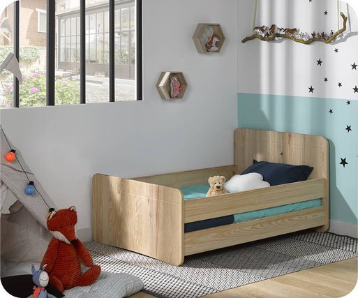 Cama juvenil evolutiva Willow 90x140cm Natural con barreras