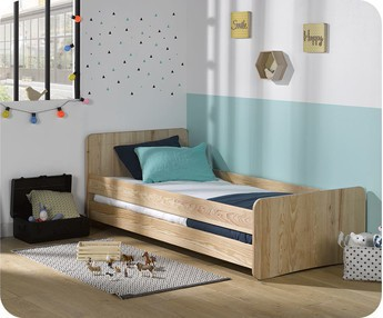 Cama juvenil Willow Natural 90x190cm con Barreras