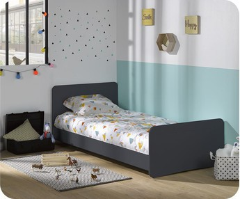Cama juvenil evolutiva Willow 90x190cm Gris Antracita