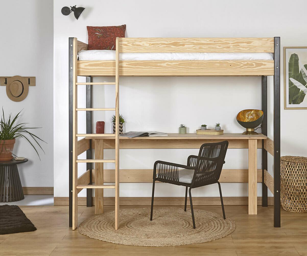 Cama alta juvenil clay 90x190cm blanca con escritorio for Camas altas juveniles