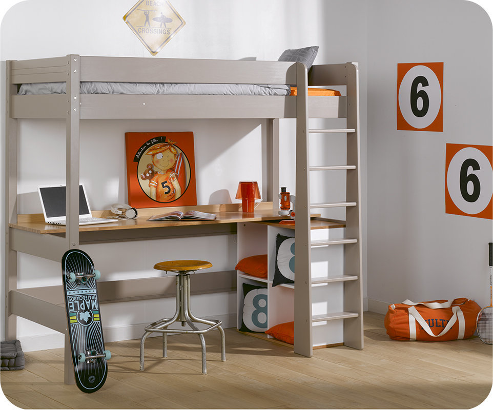 Cama alta juvenil clay 90x190cm lino con escritorio for Cama juvenil con escritorio
