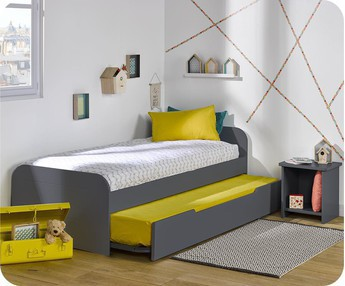 Cama nido juvenil 90x190cm Sleep'In, Gris Antracita