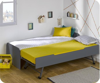 Cama nido juvenil 90x200cm Sleep'In, Gris Antracita