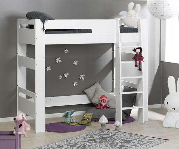 Cama alta para niños LONDON en color blanco