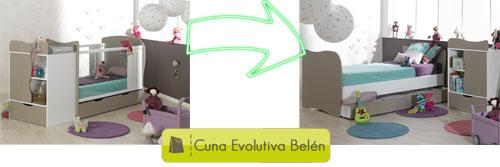Cuna evolutiva Belén. De cuna de bebé de 70x140cm a cama juvenil de 90x190cm