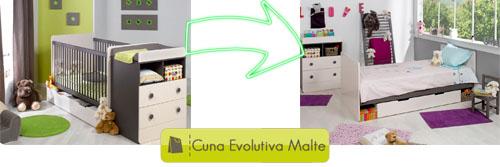 Cuna evolutiva MALTE, Cuna de bebé de 70x140cm a cama juvenil de 90x190cm